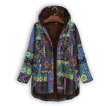 Ethnic Fleece Lined Coat Women Hooded Jacket Winter Warm Outwear Top