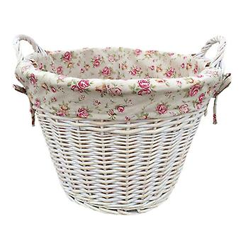 White Wash Garden Rose Cotton Lined Log Basket