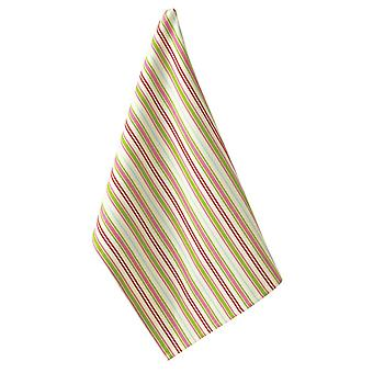 Holiday Merriment Pink and Lime Green Stripes Kitchen Dish Towel