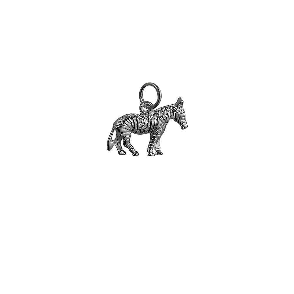 Silver 20x10mm Zebra Pendant or Charm