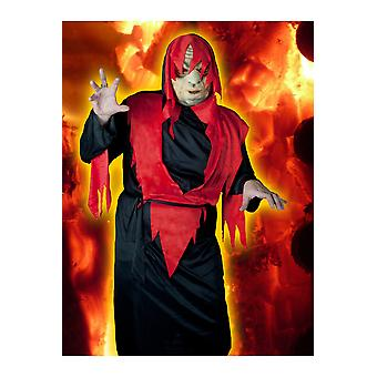 Hombres trajes diablo guerrero rojo-negro