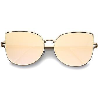 Oversize slank metallramme farget speil Flat linsen Cat Eye solbriller 58mm