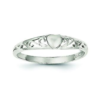 925 Sterling Silver Solid Polished Heart Ring - Ring Size: 6 to 8