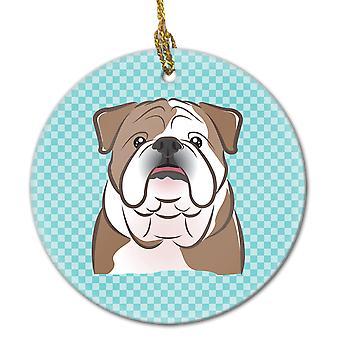 Ornement de céramique bleue Bulldog anglais damier