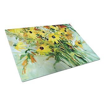 Wildflower Bouquet Flowers Glass Cutting Board Large