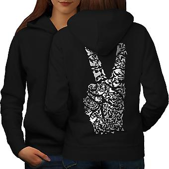 Peace Sign Hand Animal Women BlackHoodie Back | Wellcoda