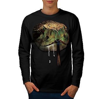 ヘビの獣野生の男性 BlackLong 半袖 t シャツ |Wellcoda