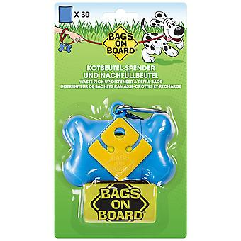 Borse a bordo osseo Poo Bag Dispenser blu con 30 borse