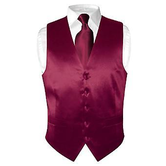 Biagio mænds silkekjole Vest & slips Solid hals Tie sæt