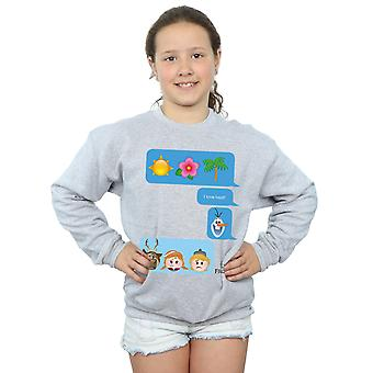 Disney Girls Frozen I Love Heat Emoji Sweatshirt