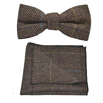 Luxe Walnut bruin Herringbone Check strikje & zak plein Set, Tweed