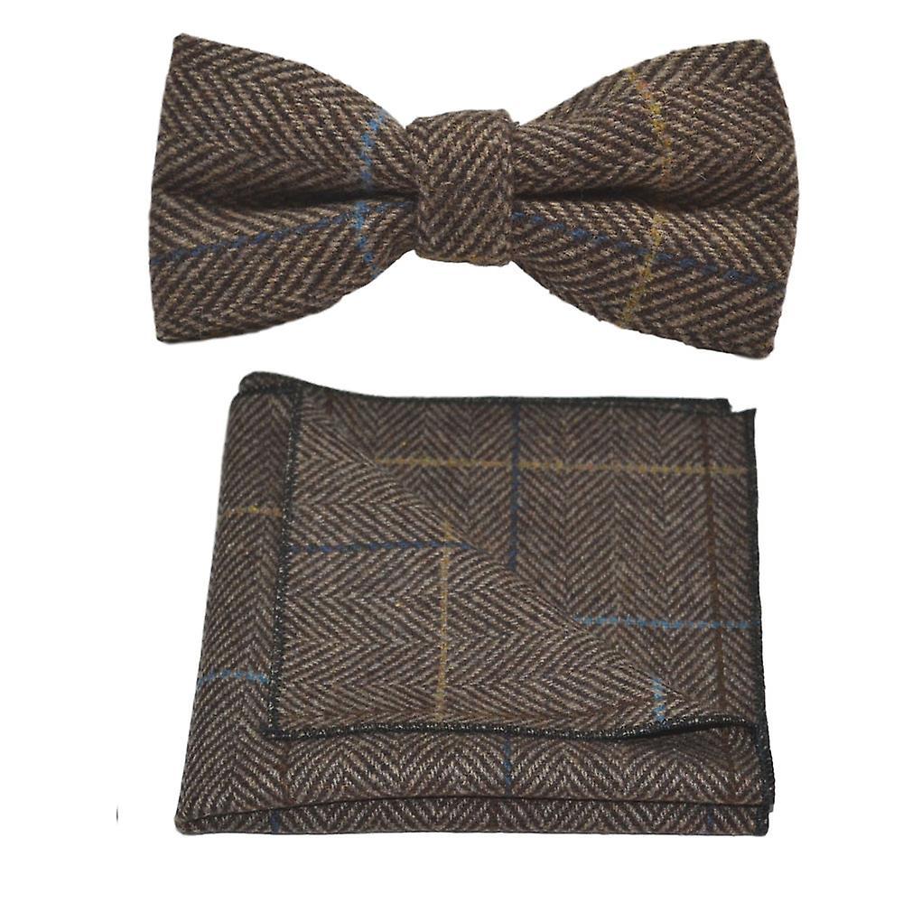 Luxury Walnut Brown Herringbone Check Bow Tie & Pocket Square Set, Tweed