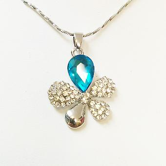Womens Flower Leaf Butterfly Sky Blue Crystal Necklace BG1638 A2