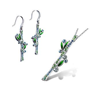 Ozdoby: Wisiorek i kolczyki / Bambusowe uszy ozdobione kryształami Swarovskiego Blue Green 5021