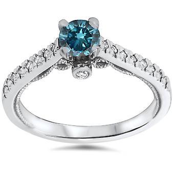 5 / 8ct Vintage blå diamant förlovningsring 14K vitguld