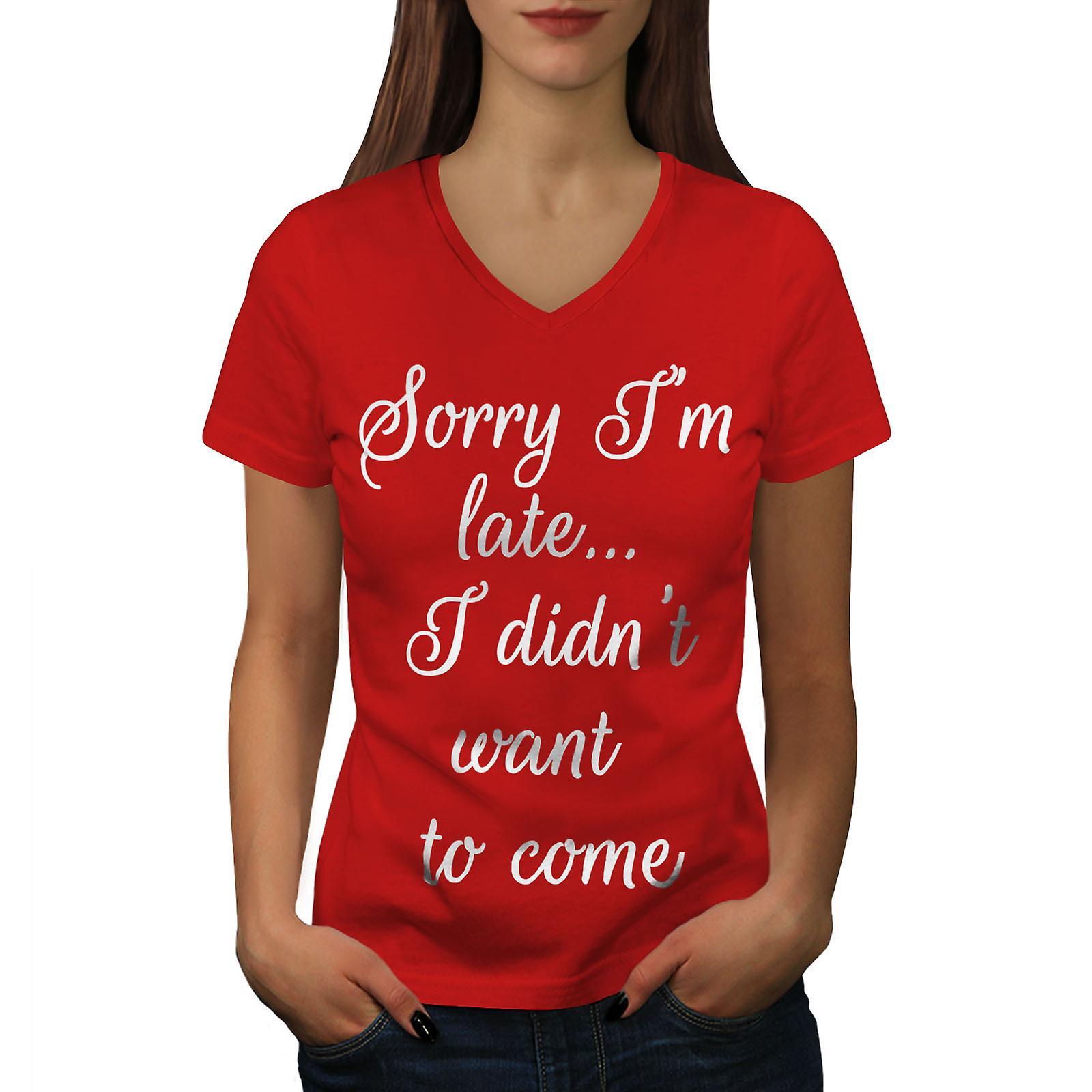 Désolé, je suis fin femmes RedV-Neck T-shirt | Wellcoda