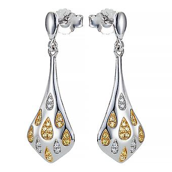 Orphelia Silver 925 Earring Teardrop 925 Bicolor Siver And Goldplated With Zirconium  ZO-7349
