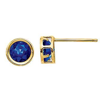 1.40 Carat (ctw) Natural Dark Blue Sapphire Post Earrings 5mm in 14K Yellow Gold