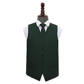 Dark Green Solid Check Wedding Waistcoat & Tie Set
