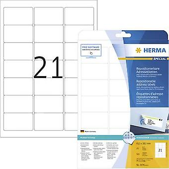 Herma 5074 Labels 63.5 x 38.1 mm Paper White 525 pc(s) Removable All-purpose labels, Address labels Inkjet, Laser, Copier 25 Sheet A4