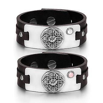 Wolf Pfote keltischer Schild Knot Amulett Paare weiße Rosa simulierten Katzen Auge Braun Lederarmbänder