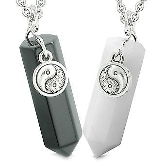 Onnekas Yin Yang amuletit rakkautta parit paras ystävät Crystal pistettä musta akaatti valkoisen Quartz Kaulakoru