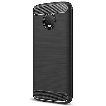 Motorola Moto G6 plus TPU asia hiilikuitu optiikka harjattu suojakotelo musta