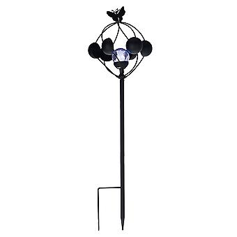 Black Metal Solar 2-in-1 tuuli askeltimessa LED Crackle lasinen pallo