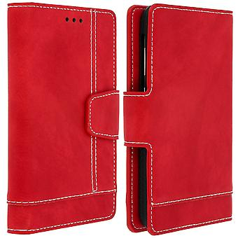 Slim Case, flip book cover, stand wallet case for 5''- 5.5'' Smartphones - Red