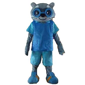 mascot SPOTSOUND gray cat in blue outfit, with glasses