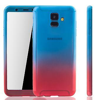 Samsung Galaxy A6 2018 mobile tilfælde beskyttelse-sag fuld dække tank beskyttelse glas blå / rød