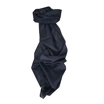 桑絹の手染め長スカーフ暗いパシュミナ ・ シルクから青