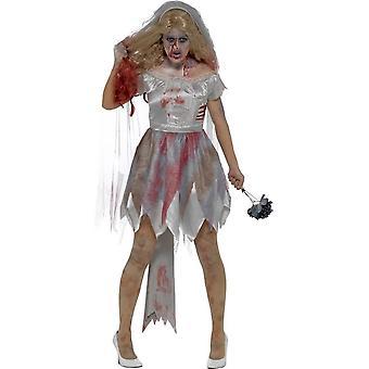 Deluxe Zombie kostium panny młodej, szary, z sukienka, dołączony rany lateksu żebra, welon & bukiet
