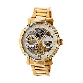 Heritor Automatic Aries Skeleton Dial Bracelet Watch - Gold/Silver