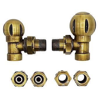 Angled Antique Brass Valve Radiator Ball Set + PEX and Copper (Cu) Connectors