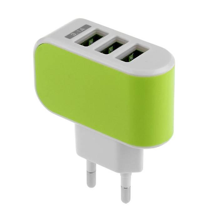 Stuff Certified® 3 pack Triple (3x) USB port iPhoneAndroid vägg laddare vägg laddare AC grön hem