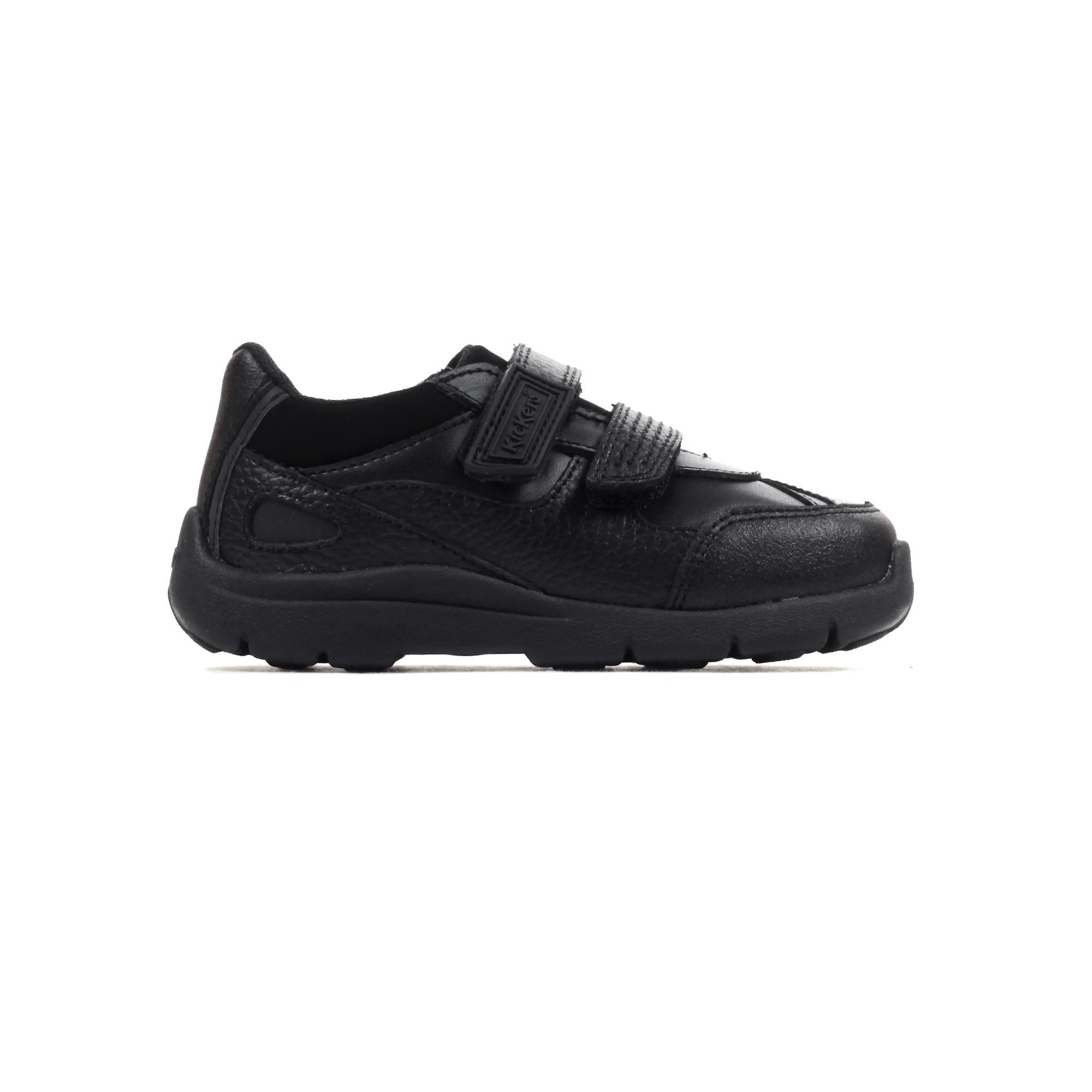 Kickers Moakie Reflex Leather Infant Toddler Boys School Fashion Shoe Black
