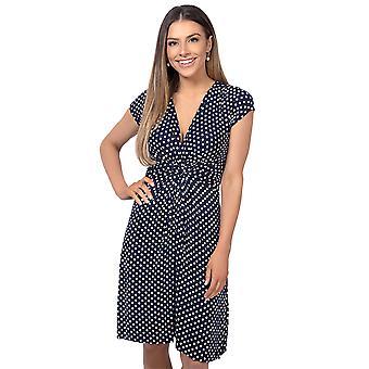 KRISP Womens Polka Dot Print Twist knoop Front V hals Mini Swing jurk Party zomer