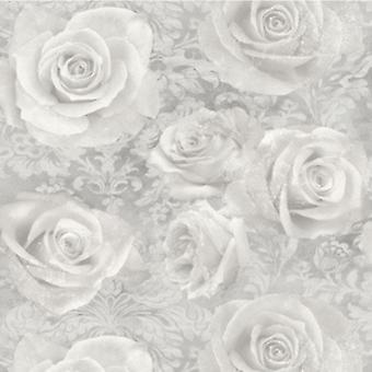 Floral Tapete Blumen Rosen Träumerei Silber grau Schwergewichts-Arthouse