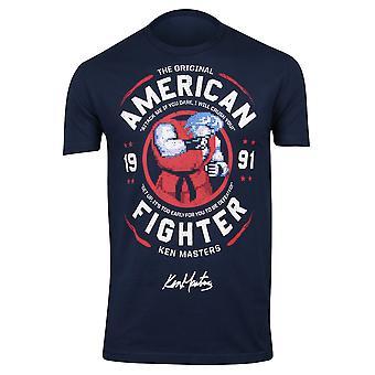 Capcom Mens Street Fighter Ken OG American Fighter T-Shirt-dunkelblau