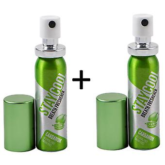Stay Cool Cardamome Pack de 2 Breath Fresheners Oral Hygiene Mouth Pump Spray Can