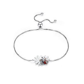 Kvinnliga nyckelpiga och blomma armband i Silver 925 och e-post