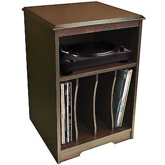Audio - toca-discos / Lp Record / armazenamento de vinil lado final / cabeceira mesa - noz
