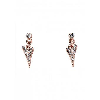 Miss Dee Rose Gold Plated Small Crystal Heart Drop Earrings