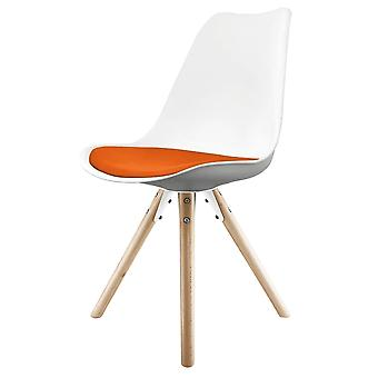 Fusion Living Eiffel Inspired White And Orange Dining Chair With Pyramid Light Wood Legs