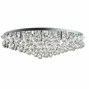 8 Light Round Ceiling Semi Flush Light Chrome With Crystal Balls