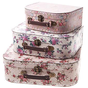 Sass & Belle Set Of 3 Vintage Rose Suitcase's