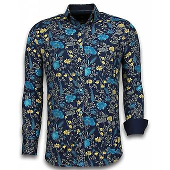 E Shirts - Slim Fit - Coloured Flower Pattern - Blue