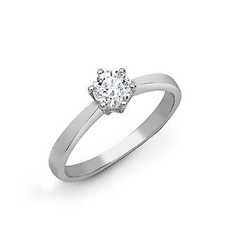 Jewelco London Ladies Solid 18ct White Gold 6 Claw Set Round G SI1 0.15ct Diamond Solitaire Engagement Ring 4mm