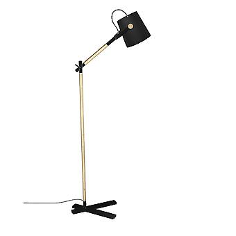 Mantra Nordica Floor Lamp With Black Shade 1 Light E27, Matt Black/Beech With Black Shade